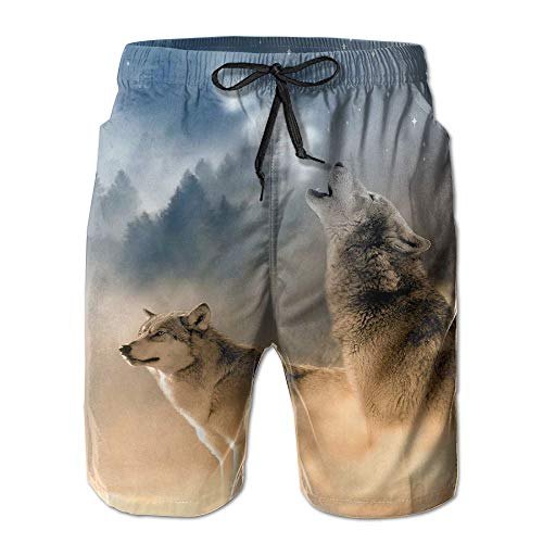 Tydo Quick Dry Beach Shorts Wolf Moon Painting Swim Trunks Surf Board Pants with Pockets for Men - Foyer Cascade