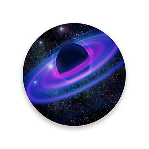 Space Neon Rings Planet Galaxy Ceramic Coasters for Drinks,Round 4 Piece Coaster Set