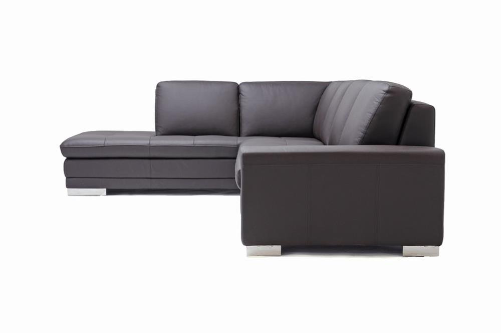 Amazon.com: Baxton Studio Callidora Brown Leather Sectional Sofa With Left  Facing Chaise: Kitchen U0026 Dining