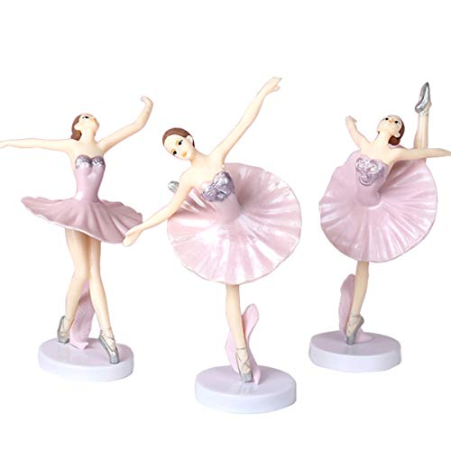 HYSTYLE 3 Pcs Pink Dancing Ballerina Girl Figurine, Miniature Ballerina Girl Figure Collection Playset Doll Toy, Ballerina Girl Cake Topper, Ballerina Girl Plant Pot Craft Dollhouse Decoration, Cake Decoration, Landscape Scenes (Ballerina Figurine Miniature)