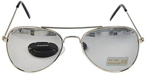 Children Aviator Uv400 Protection Metal Frame Sunglasses Silver Reflective Lens