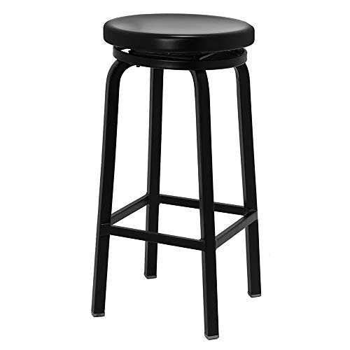 Renovoo Aluminum Swivel Backless Bar Stool, Commercial Quality, Matte Black Finish, 30 Inch Seat Height, Indoor Outdoor Use, 1 Pack