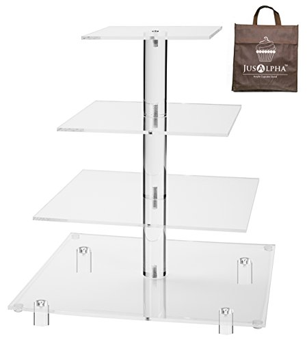 (Jusalpha 4 Tier Square Acrylic Cupcake Tower Stand-Cake Stand-Dessert Stand-Cupcake holder-Pastry serving platter-Cupcake Tower for Wedding-Party Supply(4 Tier With Rod Feet) (4SF-V2))