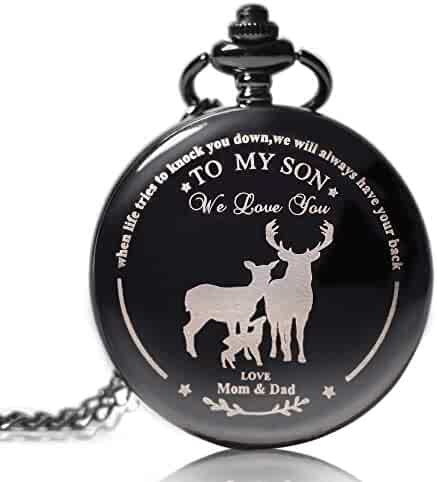 to My Son Boy's Pocket Watch |Pocket Watch for Son from Dad & Mom for Christmas, Valentines Day, Birthday … (Black)