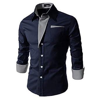 6e245bb5de7e IndoPrimo Men's Cotton Casual Shirt for Men Full Sleeves (Navy Blue, Small)