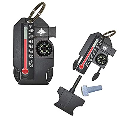 Sun Company Outsider - 4-in-1 Survival Multi-Tool | Compass, Thermometer, Whistle, and Fire Starter in a Compact Zipperpull from Sun Company