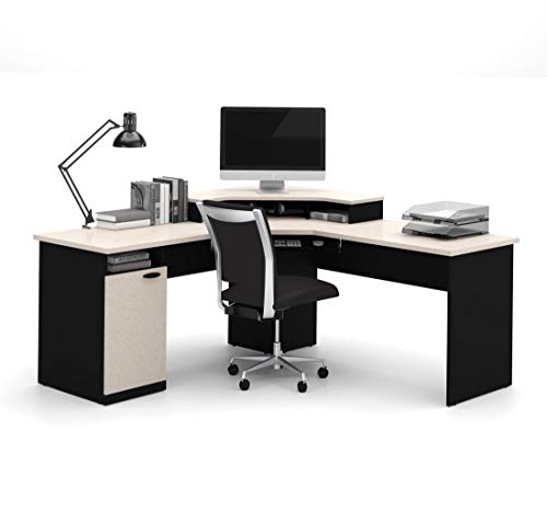 Bestar Hampton corner workstation in Sand Granite & Charcoal images