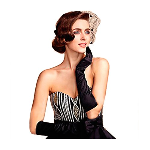 1920s Gatsby Classic Adult Size Black Long Opera Satin Flapper Gloves Elbow Length Opera Length Black Satin Gloves
