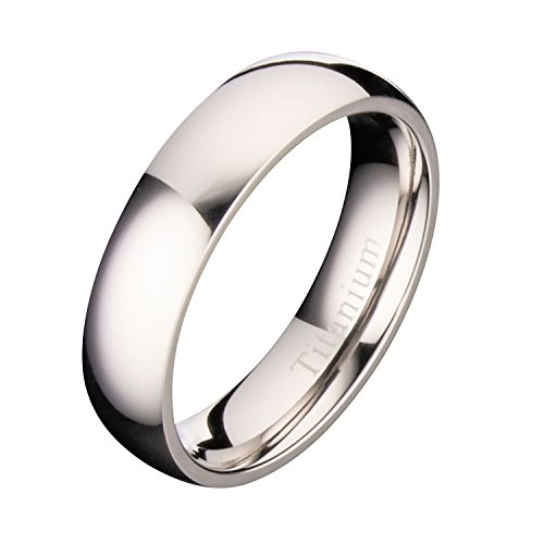 MJ Metals Jewelry 5mm Polished Titanium Wedding Band Comfort Fit Ring Size 9