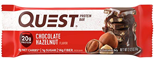 Quest Nutrition Chocolate Hazelnut Protein Bar, High Protein, Low Carb, Gluten Free, Soy Free, Keto Friendly, 12 -