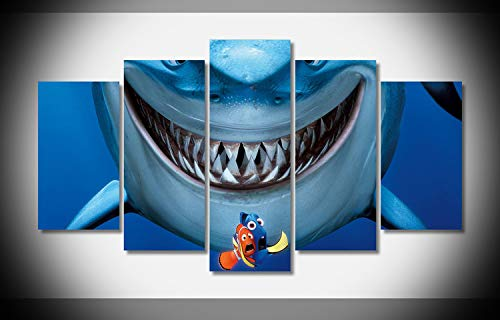 Canvas Deco 5pcs Shark Finding Nemo Canvas Print Wall Art Work for Home Decorations Wall Decor ()