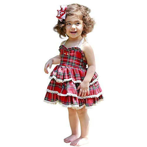 - Baby Girls Simplee Dress Princess Lace Red Plaid Tiered Skirt Kids Summer Birthday Wedding Party Dresses