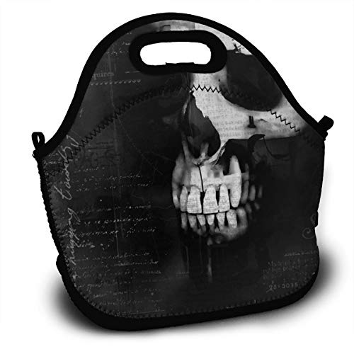 Creepy Gothic Halloween Horror Scary Spooky Reusable Insulated Lunch Bag/Gold Standard for Childrens Fine Neoprene Waterproof Picnic Lunch Boxes Tote Bags Mom Bag -