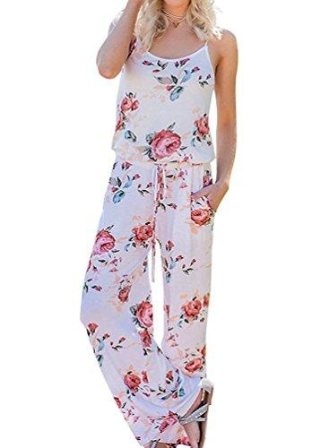 NEWCOSPLAY Women's Floral Print Sleeveless Off Shoulder Wide Leg Pants Jumpsuit Romper (2XL, ()