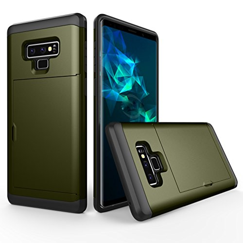 Price comparison product image ANERNAI Galaxy Note9 Cover Wallet Hard Protective Shockproof Shell Bumper Card Holder Cover for Samsung Note 9 (Dark Green)