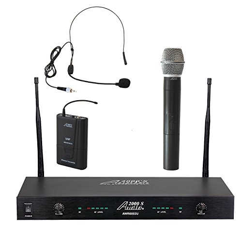 Audio2000'S tm AWM6002UX UHF, 2-Channel System w Handheld and One Headset Wireless Microphones