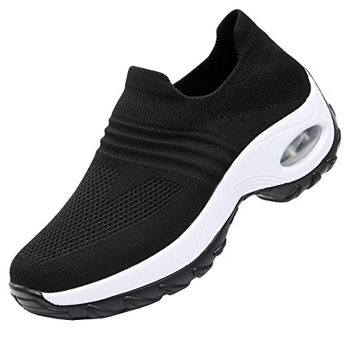 - RomenSi Women's Fashion Sock Platform Sneakers Tennis Walking Shoes Lightweight Casual SportsSlip on Air Cushion Wedge Loafers Black 7.5 B(M) US