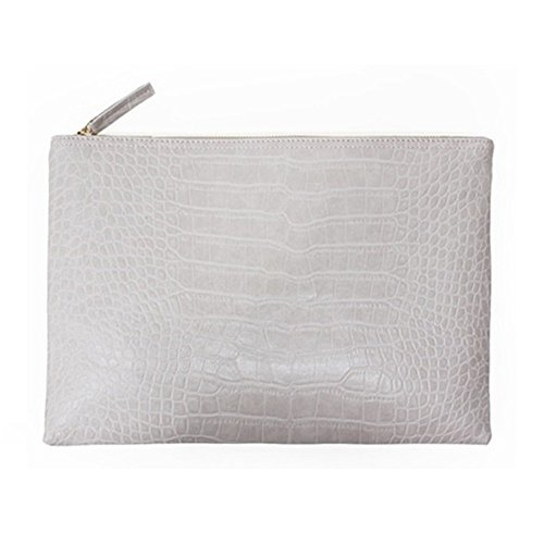 - NIGEDU Women Clutches Crocodile Grain PU Leather Envelope Clutch Bag (White)