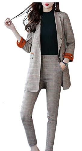 原子手荷物マーチャンダイジングSodossny-JP 女性のビジネススリムフィットツーピースオフィスレディブレザーとパンツスーツセット
