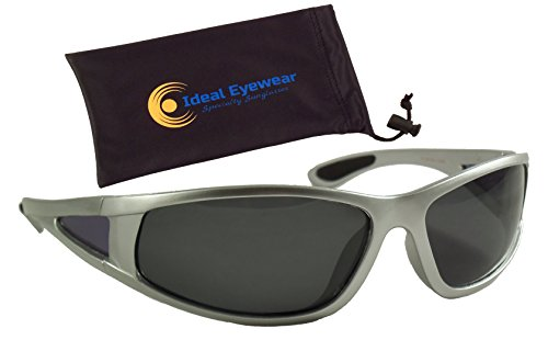 Ideal Eyewear Polarized Floating Sunglasses Great for Fishing, Boating, and Water Sports (Silver Frame/Smoke Lens with Case)