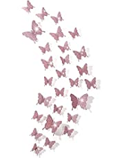 48 Pieces 3D Mirror Butterfly Wall Stickers Decals DIY Hollow-Out Butterfly Wall Decor for Home Decoration, 3 Sizes