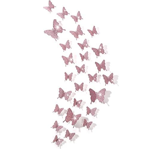 Espejos mariposas 3D 48 unidades rosa gold con glitter