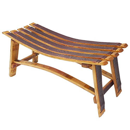 Central Coast Creations Wine Barrel Stave Small Garden Bench W/O Backrest - Wine Barrel Handcrafted Wine Barrel Furniture