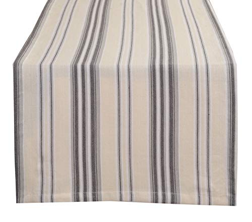 Glamburg Ticking Stripe 100% Cotton Table Runner 2 Pack 16X72 - Farmhouse Style with Mitered Corner & Generous Hem - Charcoal ()