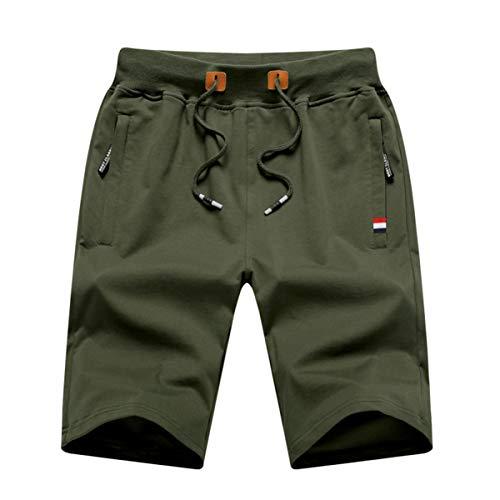 GUNLIRE Big Boy's Army Green Casual Shorts Summer Cotton Drawstring Elastic Waist Pockets Shorts 2019