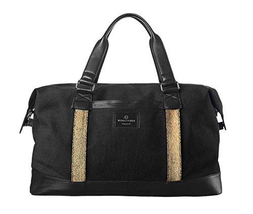 """WIND & VIBES MILAN """"GOLDFEVER"""" - Weekender Reisetasche aus Baumwoll Canvas und Echtleder (Handgepäckmaße). Handgefertigte Design Tasche aus schwarzem Canvas und schwarzem Leder."""