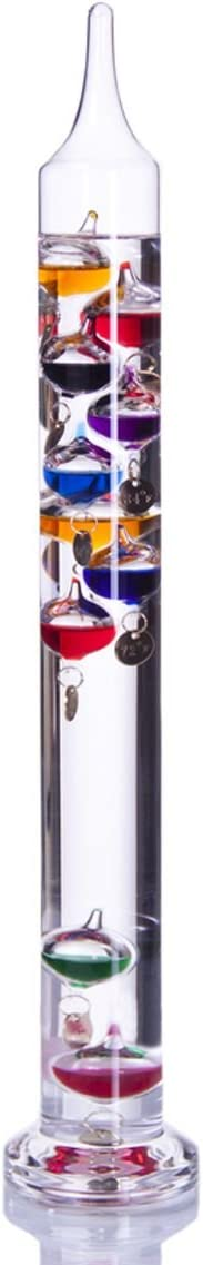 """Palais Essentials Galileo Thermometer - Floating Glass Balls Fahrenheit Temperature Indicator - Fun and Decorative (17.5"""" Inches High, 10 Multi Colored Spheres)"""