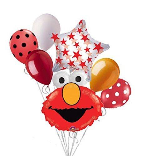 - 7 pc Elmo Head Balloon Bouquet Happy Birthday Party Decoration PBS Sesame Street