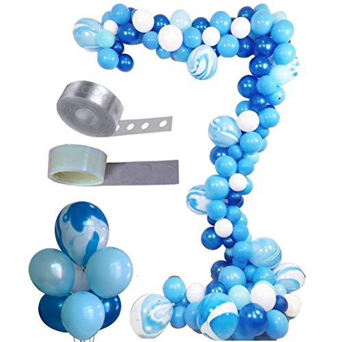 Balloon Arch & Garland Kit, Asonlye 128 Pcs Balloon Bouquet Kit, Holiday, Wedding, Baby Shower, Graduation, Anniversary Organic Party Decorations(Blue Kit) ()