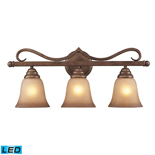 Alumbrada Collection Lawrenceville 3 Light LED Vanity In Mocha With Antique Amber Glass ()