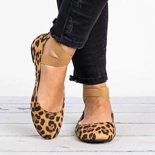Retro Leopardo Croce Scamosciato Unita Punta Matrimonio Rotonda Pompe Donne Danza Scarpe Scarpe Basse da Fantasia Scarpe Ballo Piatto Testa Tinta Allacciare vXFdRw