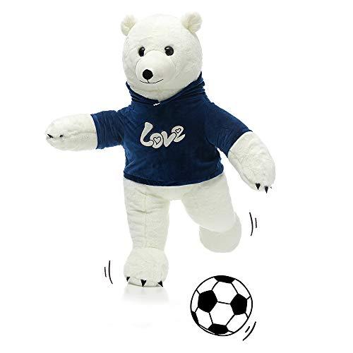 (MorisMos Stuffed Polar Bear Plush Toys,Standing White Polar Bear Dressed in Hoodie,Giant Teddy Bear for Kids,Boys,Girlfriend,35 Inches)
