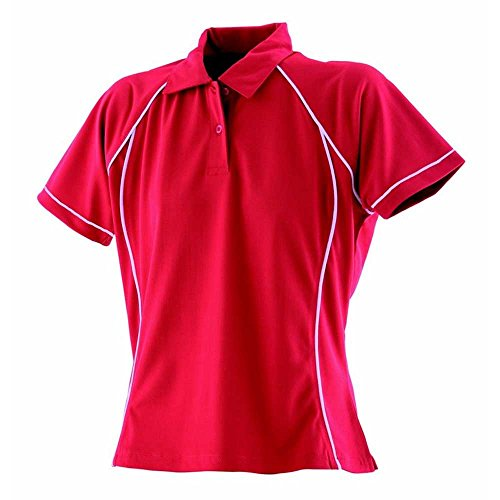 Finden & Hales Womens Piped Polo Shirts Red/White