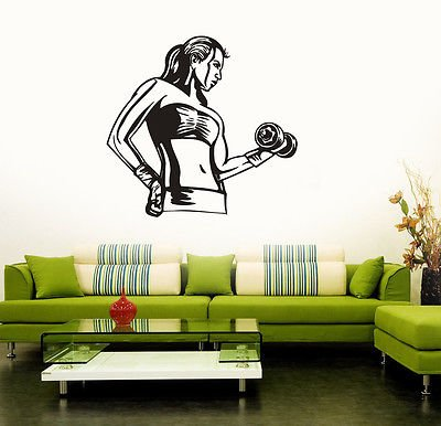 Wall Sticker Vinyl Decal Fitness Girl Woman Gym Bodybuilding Sport (vs3164)