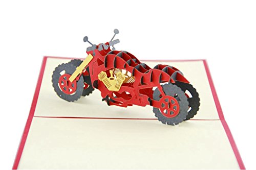 IShareCards Handmade 3D Pop Up Greeting Cards for Every Occasion - Roadster (Motorcycle)