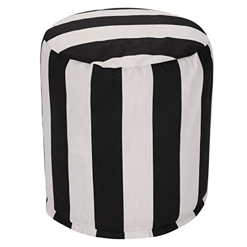 Majestic Home Goods Vertical Stripe Pouf, Small, Black by Majestic Home Goods
