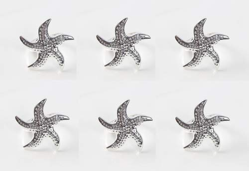 Astra shop Beautiful Starfish Napkin Rings Buckles for Dinners, Parties, Wedding Supplies, Set of 6 ()