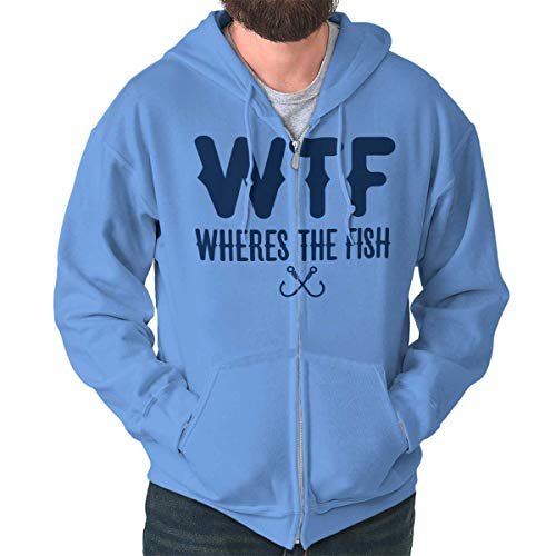Brisco Brands WTF Wheres The Fish Fisherman Humor Angler Zip Hoodie Carolina Blue
