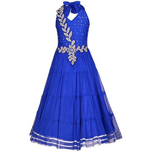 Aarika Girl's Blue Self Design Party Wear Net Gown (2716-BLUE_28_7-8 Years) by Aarika