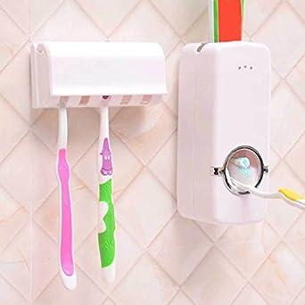 Dispensador de pasta de dientes automático con soporte para cepillo de dientes para montar en pared: Amazon.es: Amazon.es