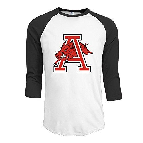 GUC Men's 3/4 Sleeve T-shirts - University Of Arkansas Razorbacks Black S (4s Cases Supernatural Galaxy)