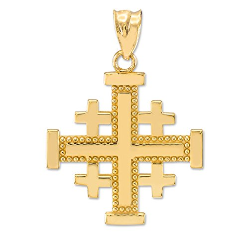 Jerusalem Gold Cross Pendant Jewelry - Masonic Jewelry (Freemason) 14k Yellow Gold Crusaders Jerusalem Cross Pendant