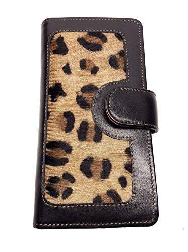 LW-1803 Black Leopard Ladies Wallet|10 card slots|1 card window|4 slide pockets|1 zip pocket | cowhide black leather & Cowhide Leopard (Women Wallet Animal Print)