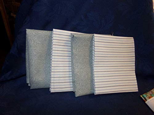FidgetGear Cotton Fabric-Fat QUARTERS-4-LIGHT SAGE Green Stripes/Prints- #217 Show One Size ()