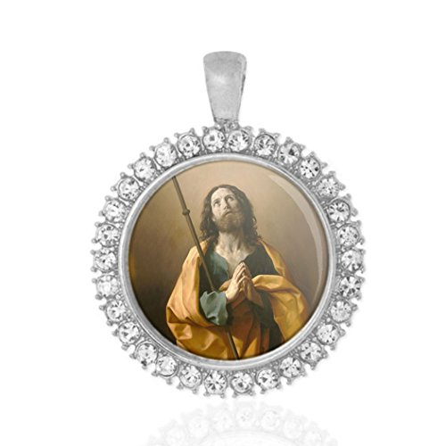 - St James The Greater Religious Round Medal Silver Tone Pendant with Rhinestones