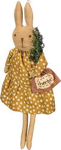 Primitives by Kathy Sitting Bunny Holding Herb Bag 5 Inches x 15 Inches x 3 Inches Decorative Signs